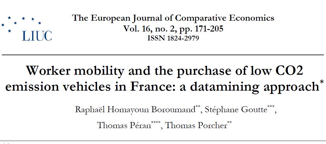 Publication académique : environnement et politiques des transports